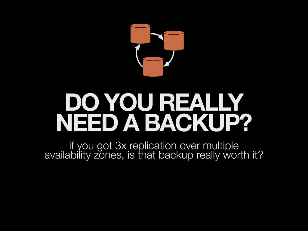 DO YOU REALLY NEED A BACKUP? if you got 3x repl...