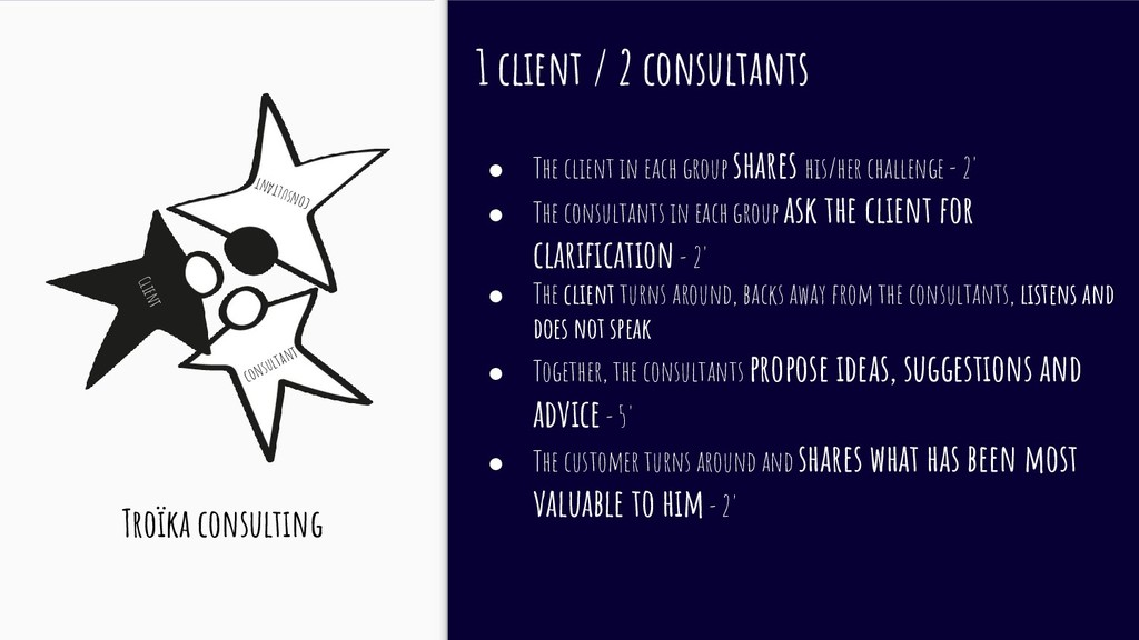 1 client / 2 consultants ● The client in each g...