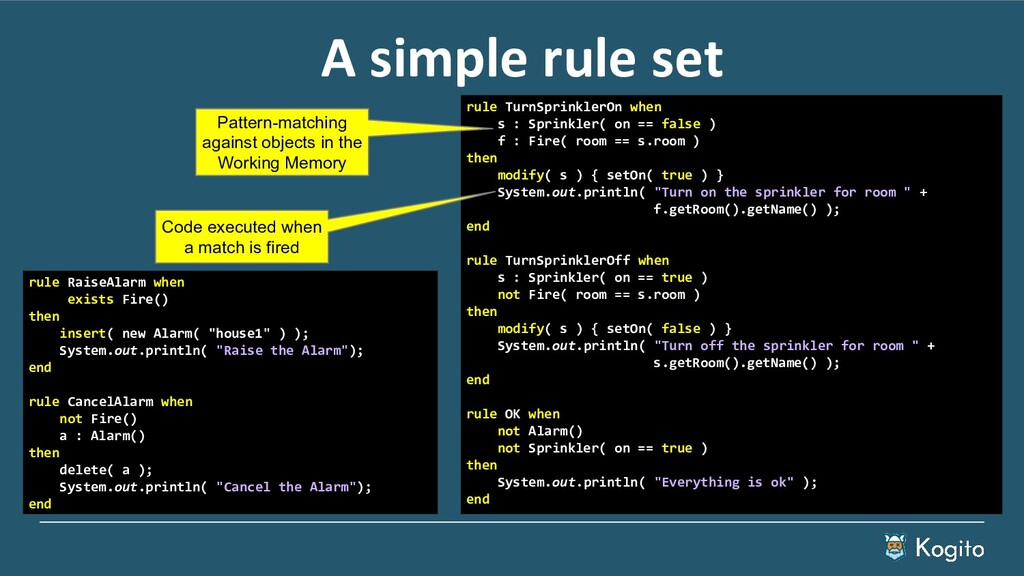 A simple rule set rule RaiseAlarm when exists F...