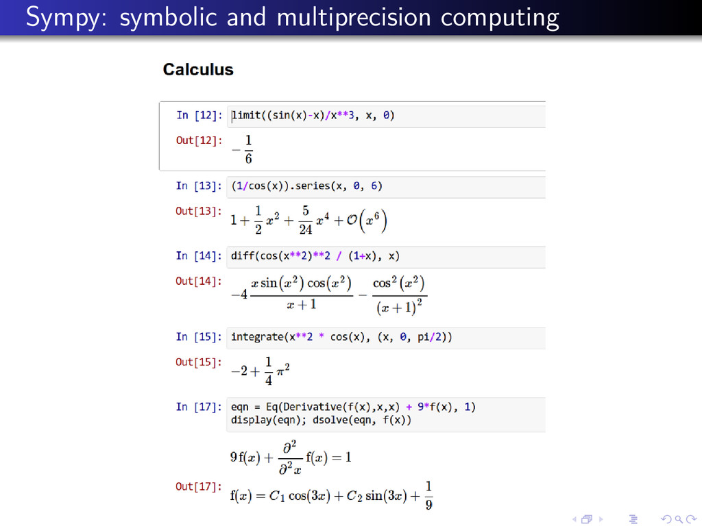 Sympy: symbolic and multiprecision computing