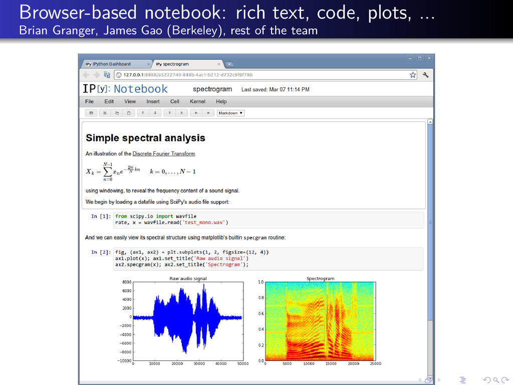 Browser-based notebook: rich text, code, plots,...