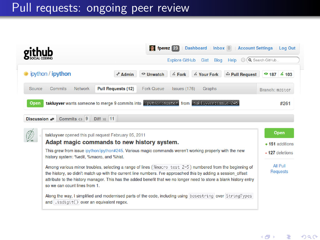 Pull requests: ongoing peer review