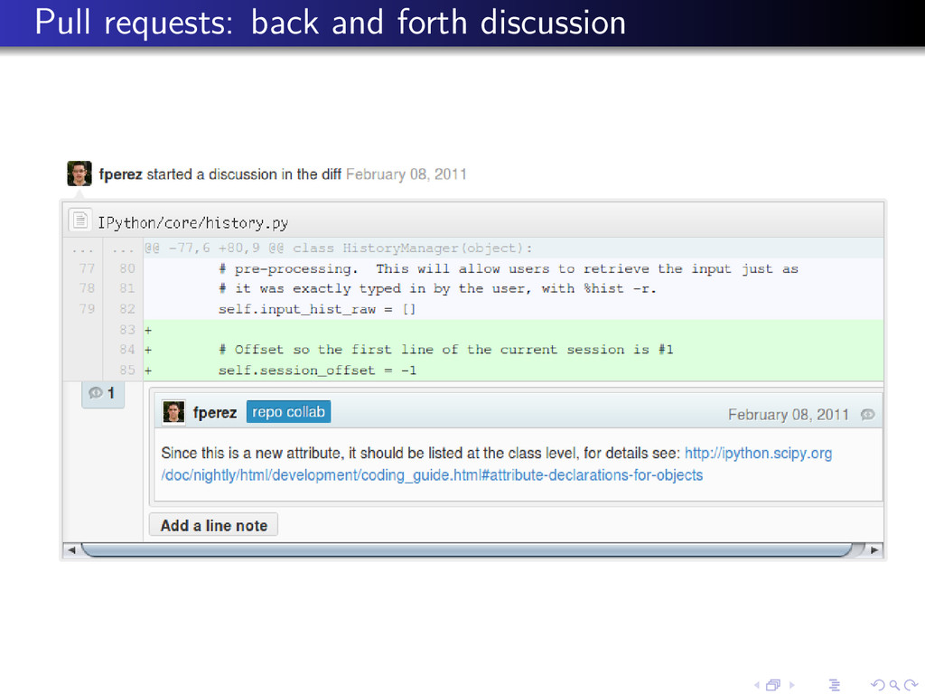 Pull requests: back and forth discussion