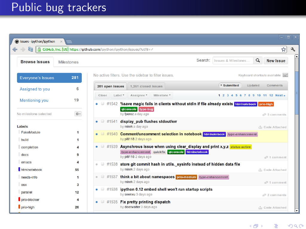 Public bug trackers