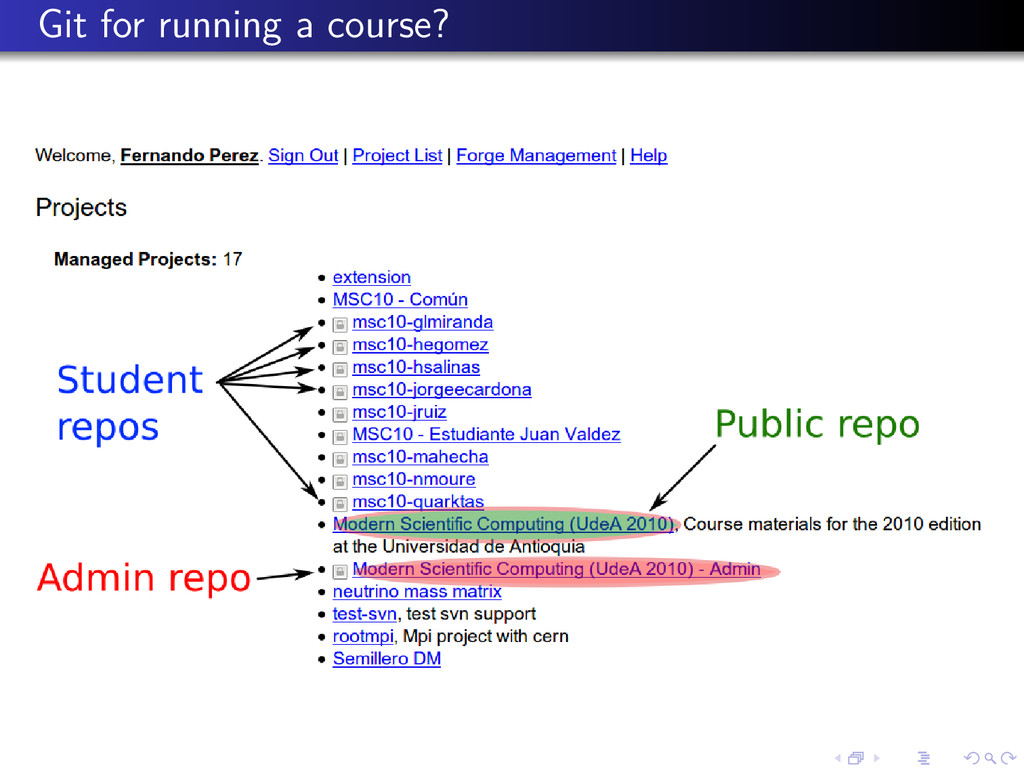Git for running a course?