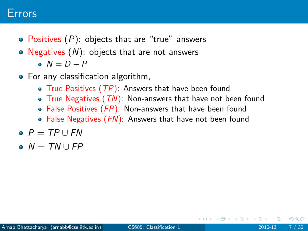 "Errors Positives (P): objects that are ""true"" a..."