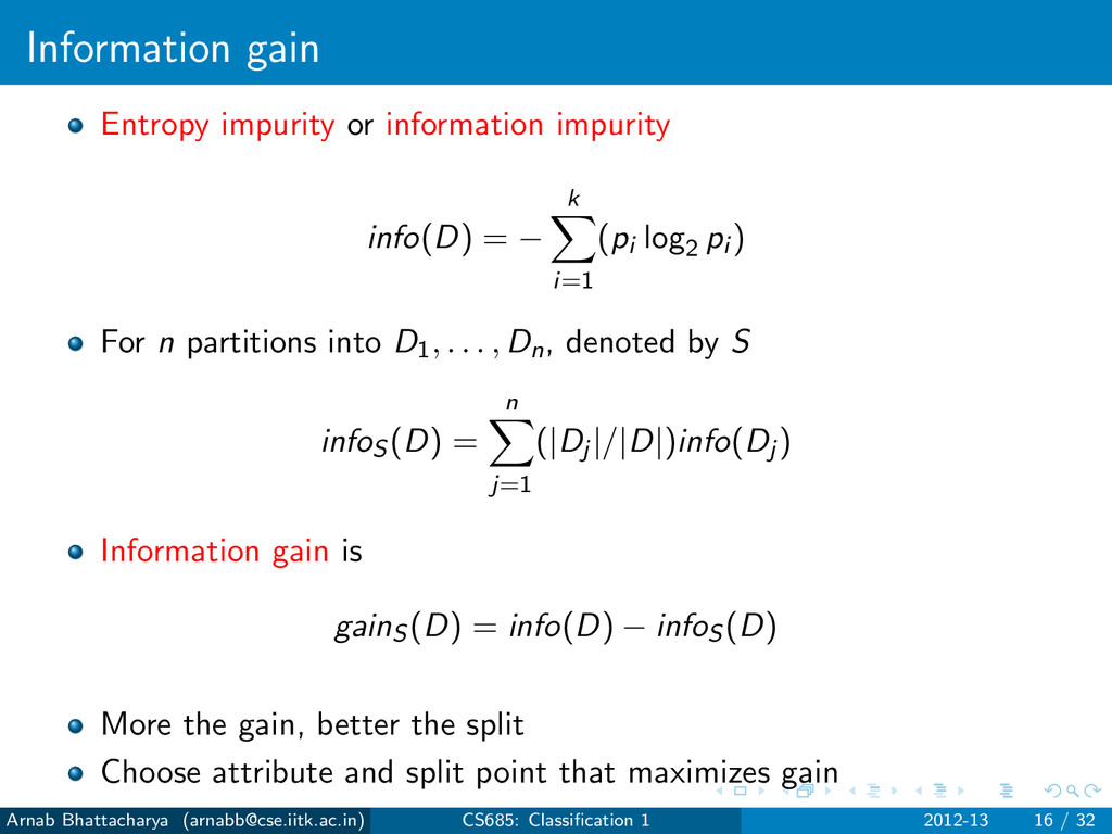 Information gain Entropy impurity or informatio...