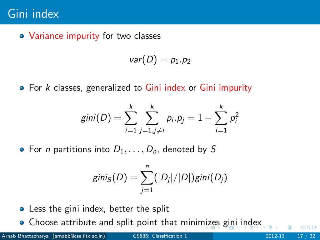 Gini index Variance impurity for two classes va...