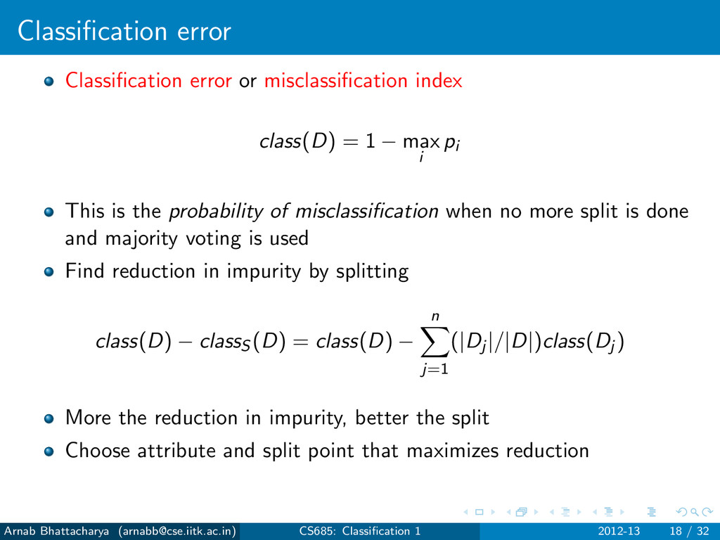 Classification error Classification error or misc...