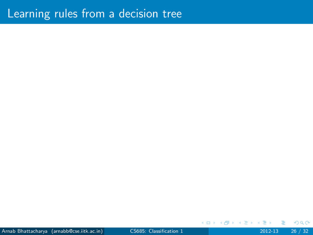 Learning rules from a decision tree Arnab Bhatt...