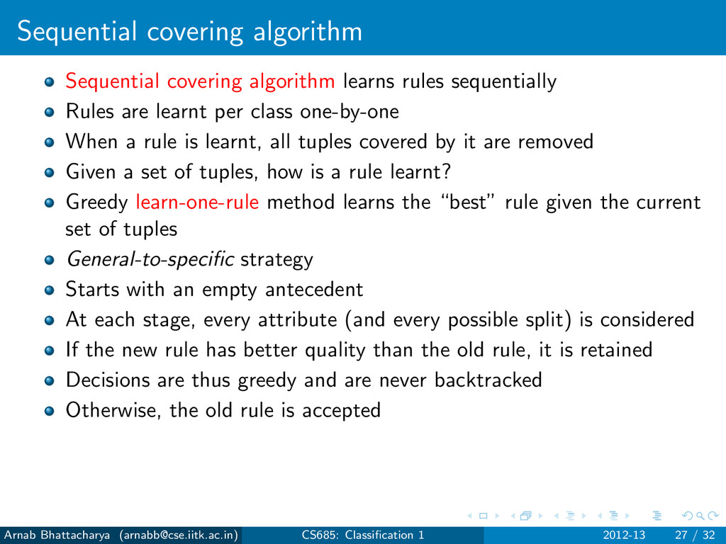 Sequential covering algorithm Sequential coveri...