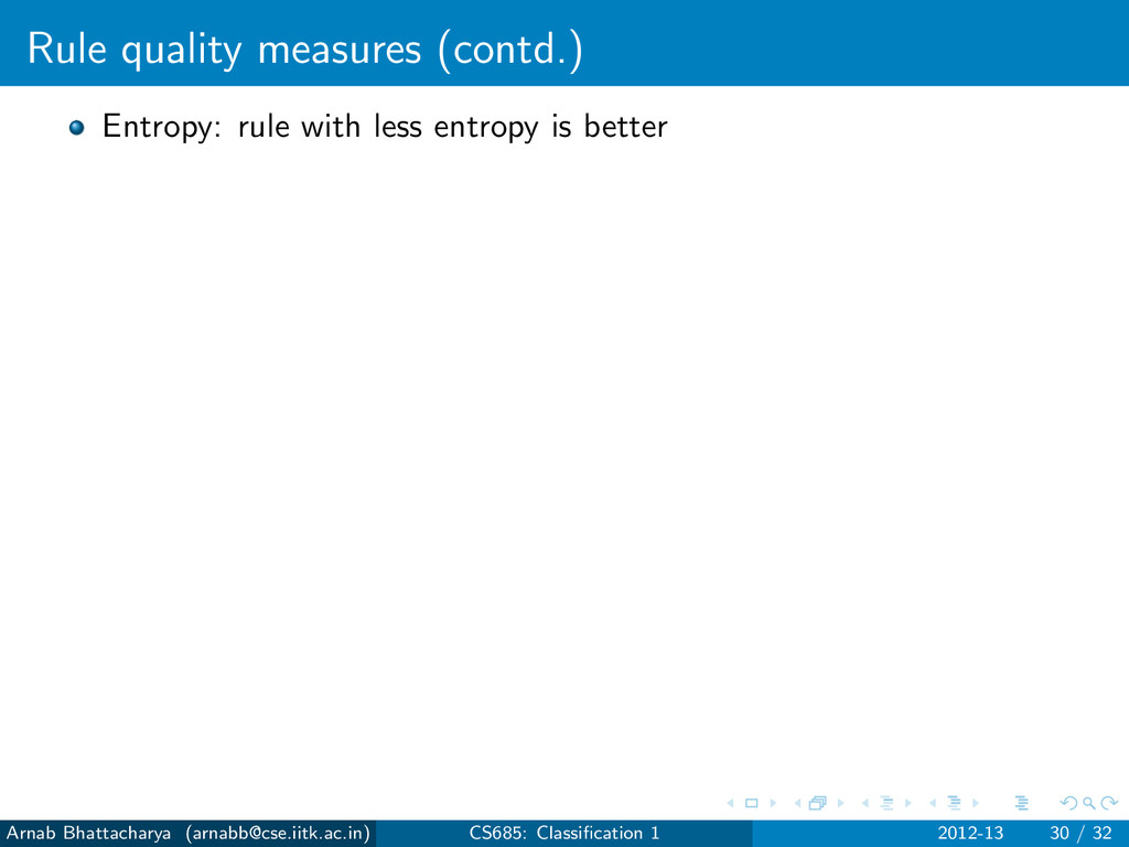 Rule quality measures (contd.) Entropy: rule wi...