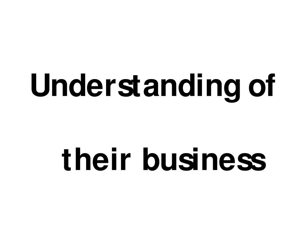 Understanding of their business