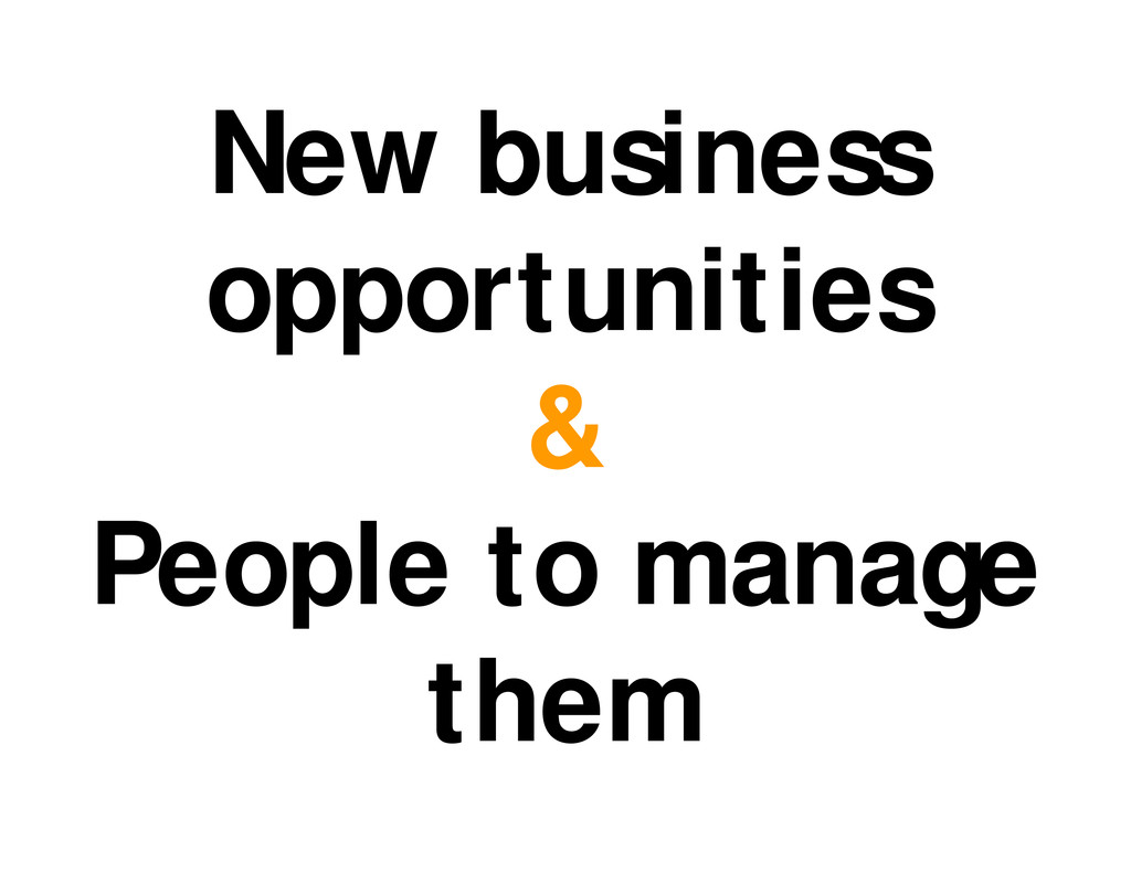 New business opportunities & People to manage t...