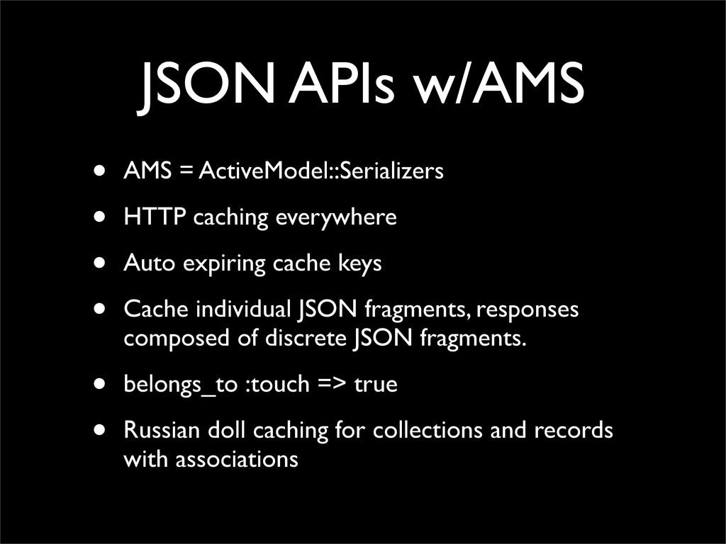 JSON APIs w/AMS • AMS = ActiveModel::Serializer...