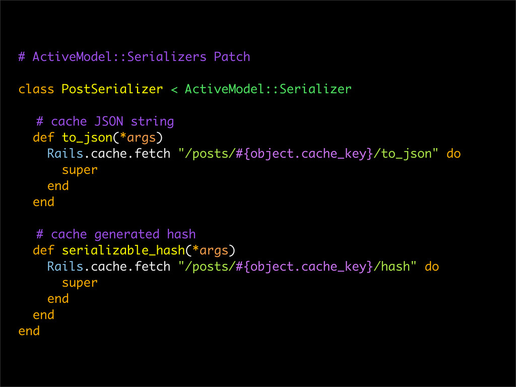 # ActiveModel::Serializers Patch class PostSeri...