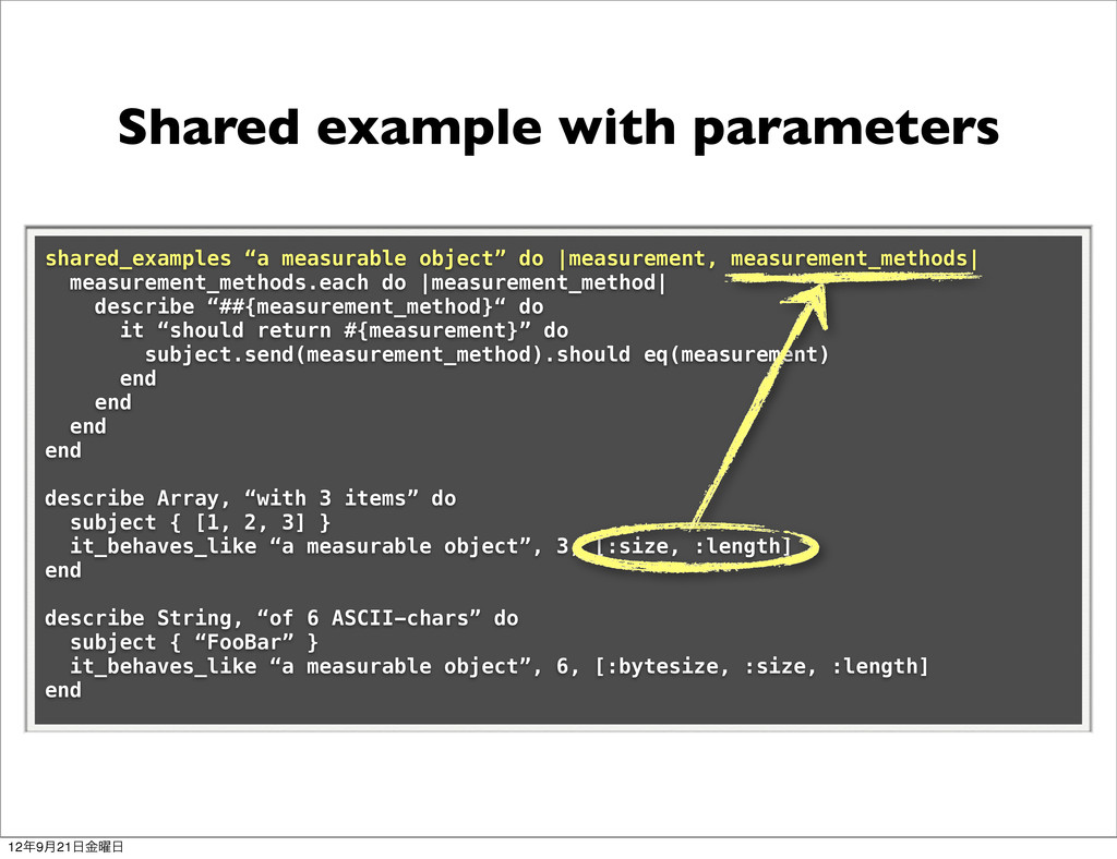 Shared example with parameters shared_examples ...