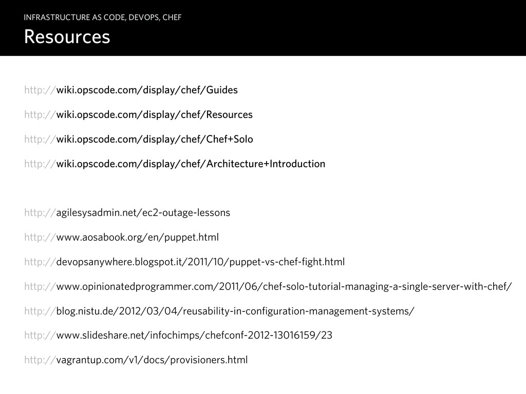 Resources INFRASTRUCTURE AS CODE, DEVOPS, CHEF ...