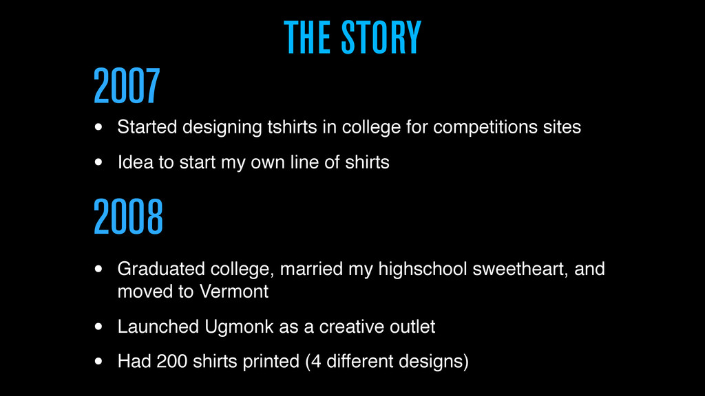 THE STORY 2007 • Started designing tshirts in c...