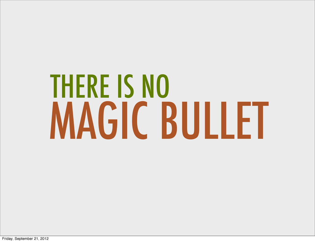 MAGIC BULLET THERE IS NO Friday, September 21, ...
