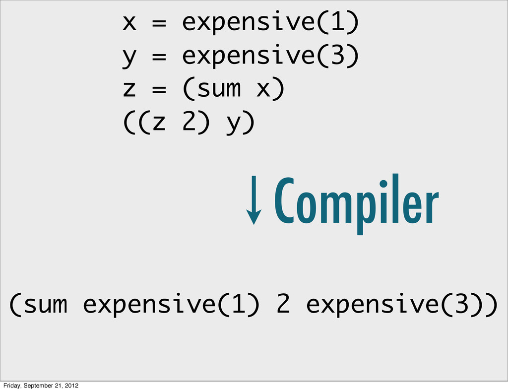 x = expensive(1) y = expensive(3) z = (sum x) (...