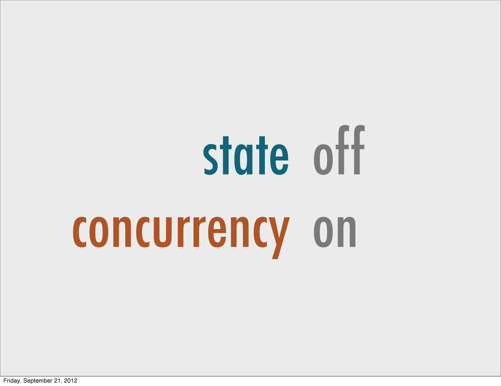 state concurrency off on Friday, September 21, ...