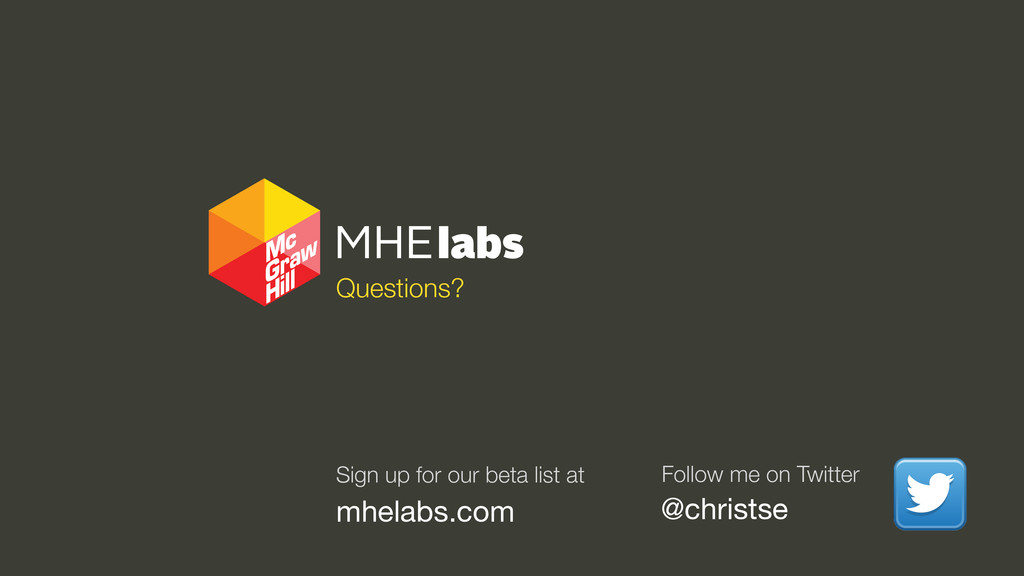 Questions? @christse Follow me on Twitter Sign ...