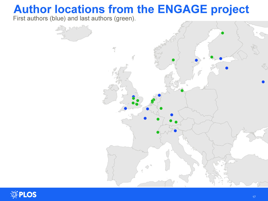 Author locations from the ENGAGE project 17 Fir...