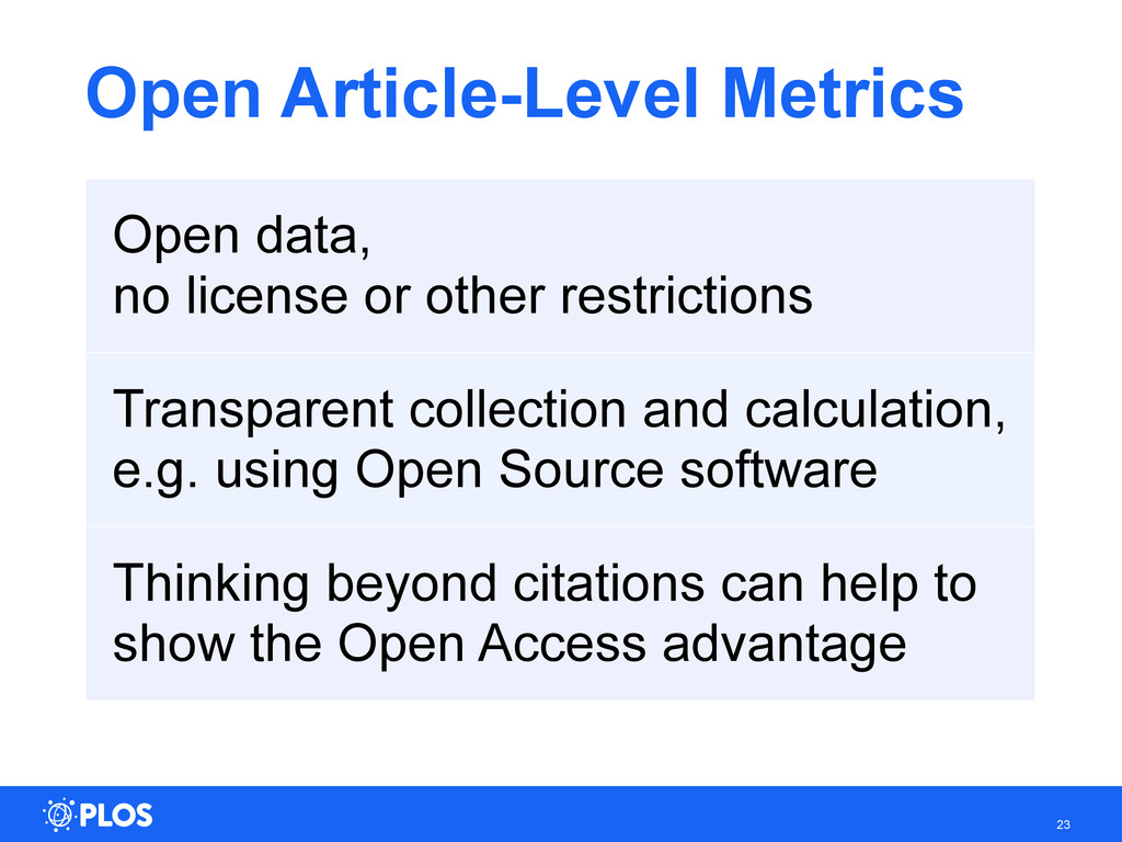 Open Article-Level Metrics 23 Open data, no lic...