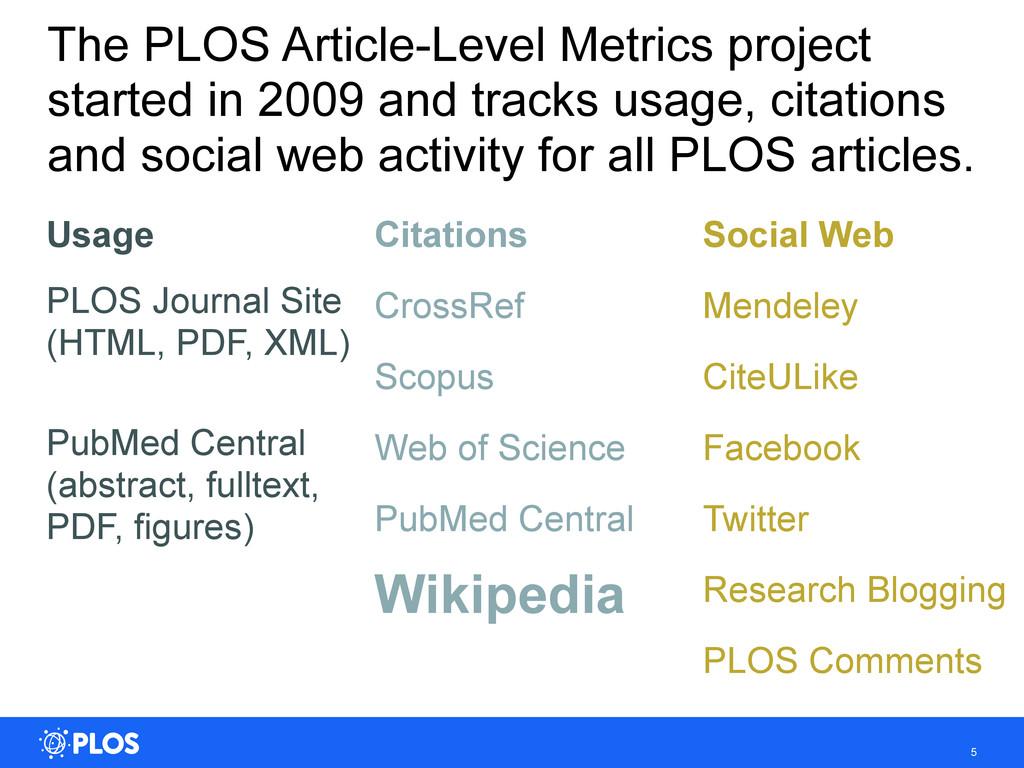 5 The PLOS Article-Level Metrics project starte...