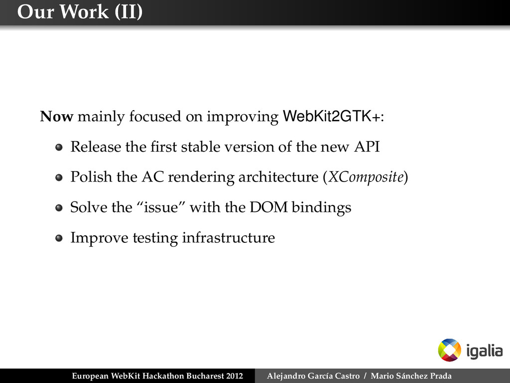 Our Work (II) Now mainly focused on improving W...