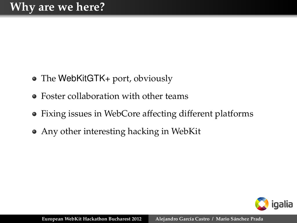 Why are we here? The WebKitGTK+ port, obviously...