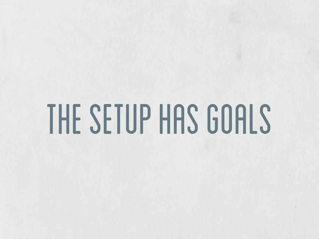 the setup has goals