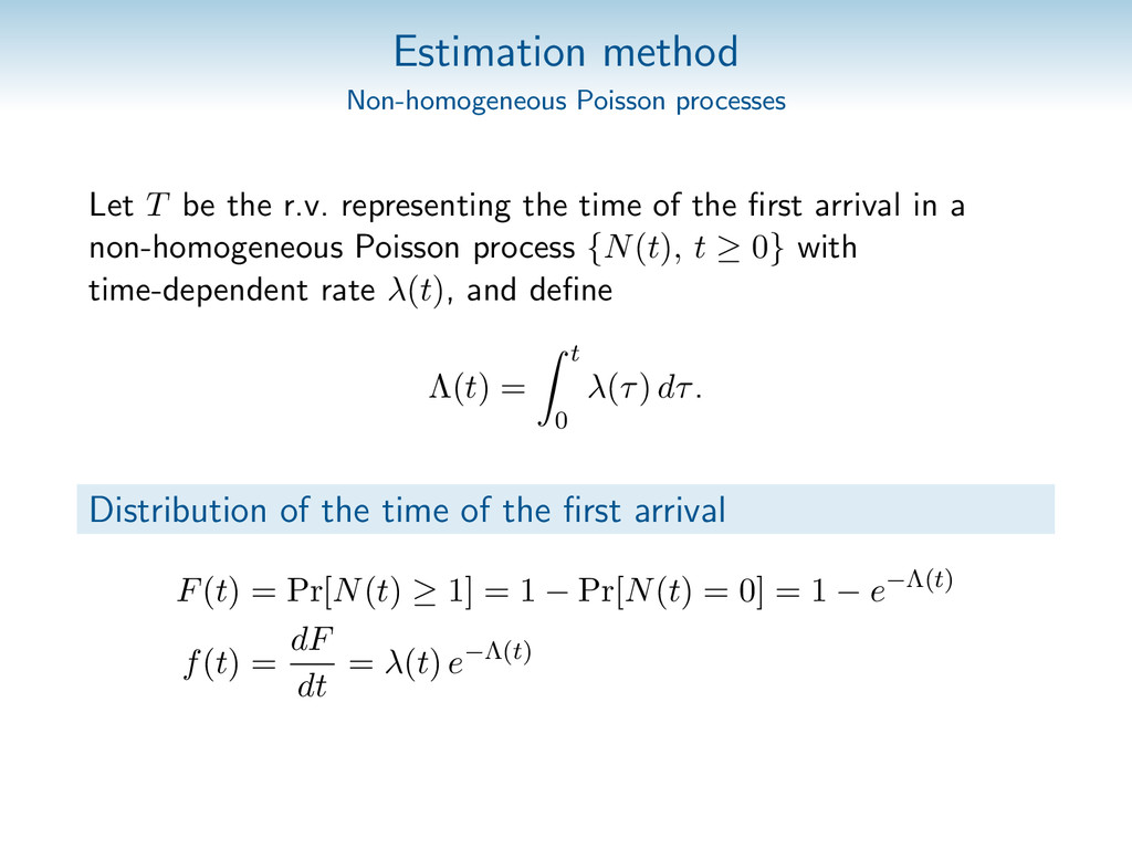 Estimation method Non-homogeneous Poisson proce...