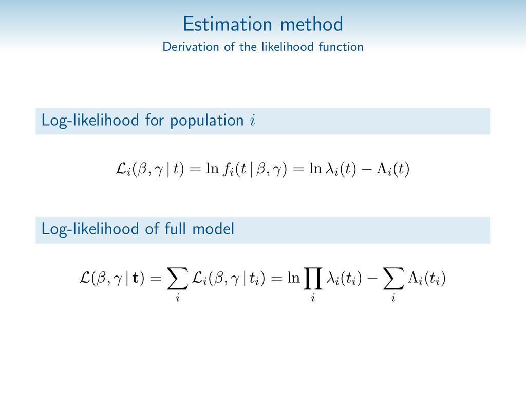 Estimation method Derivation of the likelihood ...