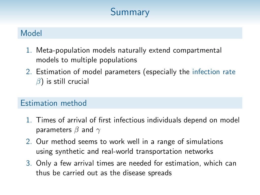 Summary Model 1. Meta-population models natural...