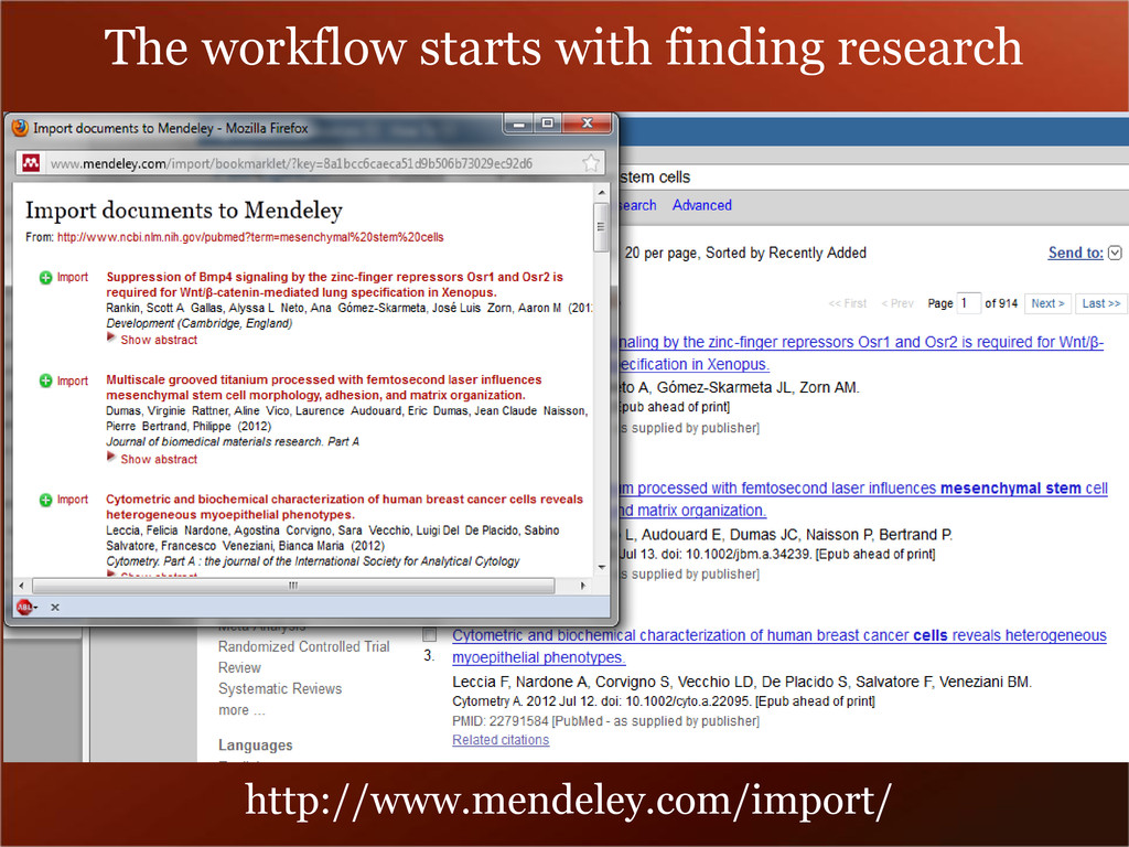 The workflow starts with finding research http:...