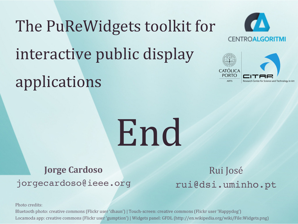 End  The PuReWidgets toolkit for ...