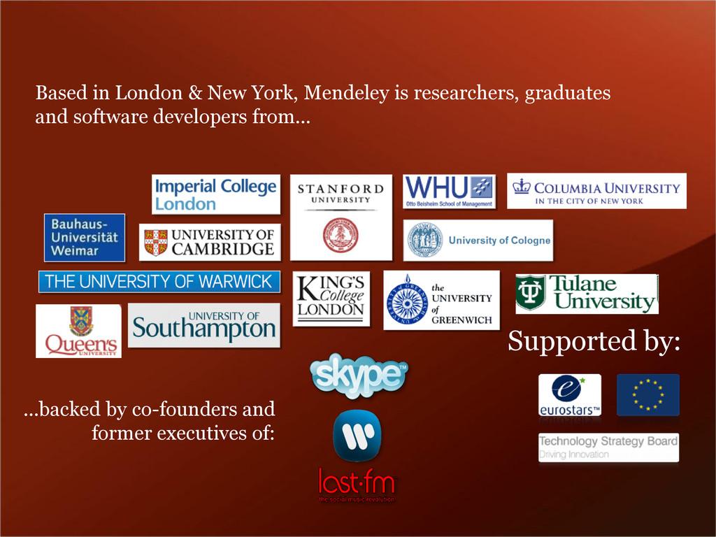 Based in London & New York, Mendeley is researc...