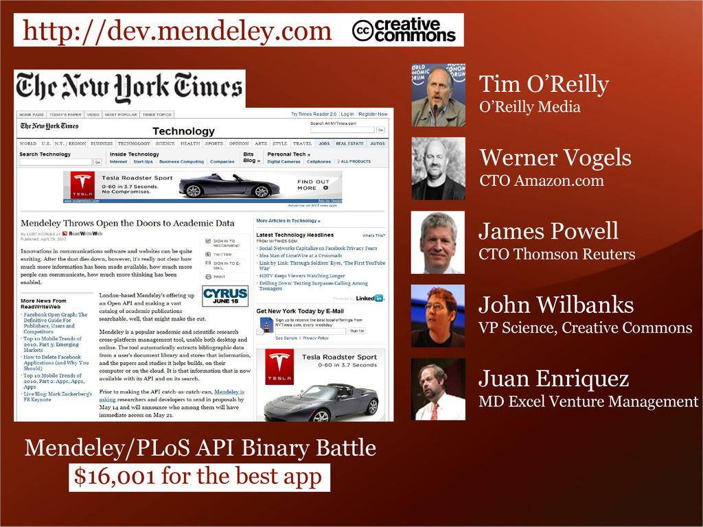 http://dev.mendeley.com Tim O'Reilly O'Reilly M...