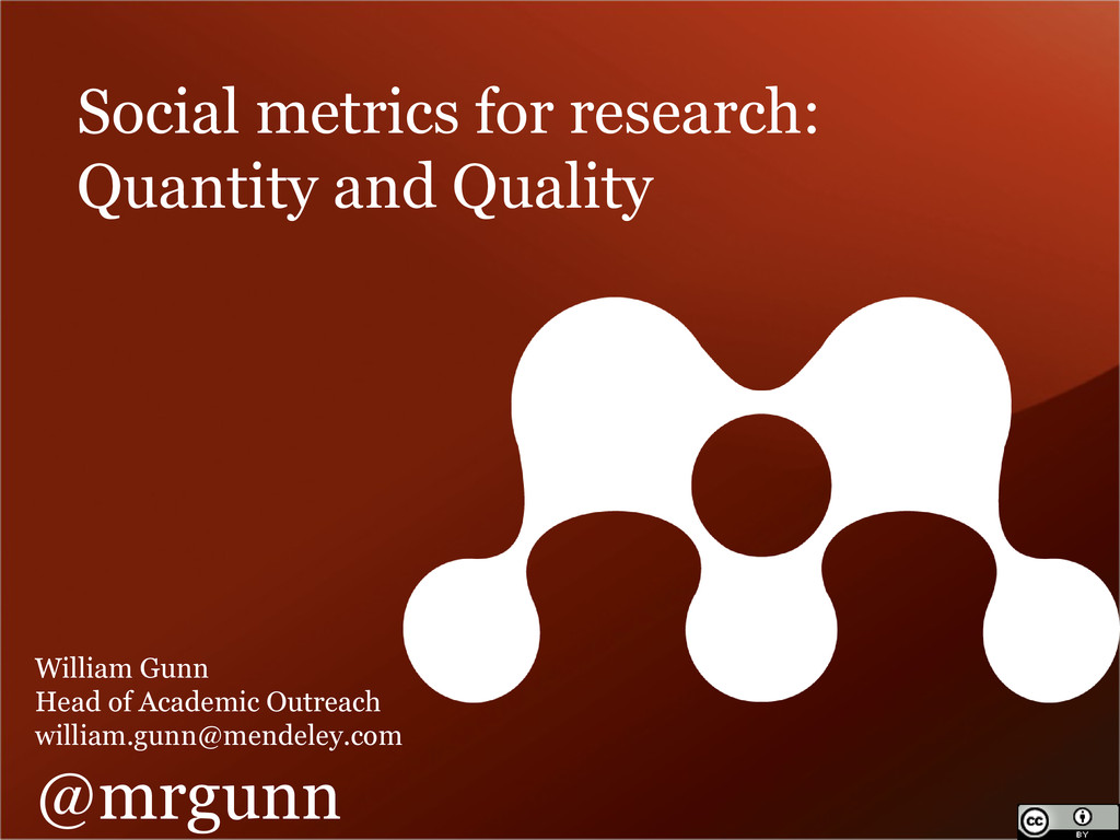 Social metrics for research: Quantity and Quali...