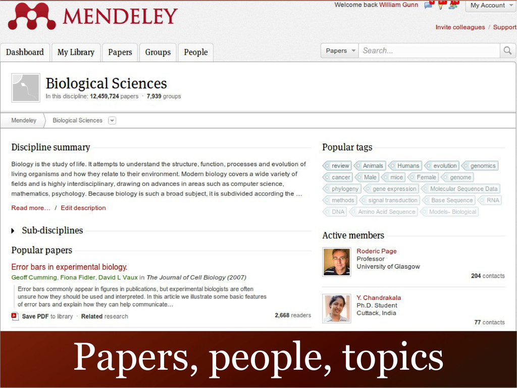 Papers, people, topics