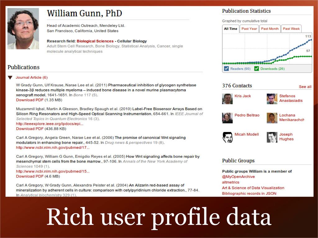 Rich user profile data