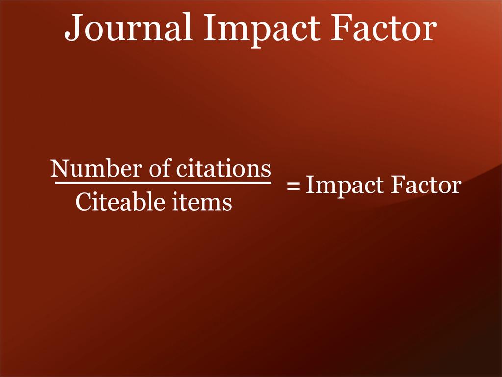 Journal Impact Factor Number of citations Citea...