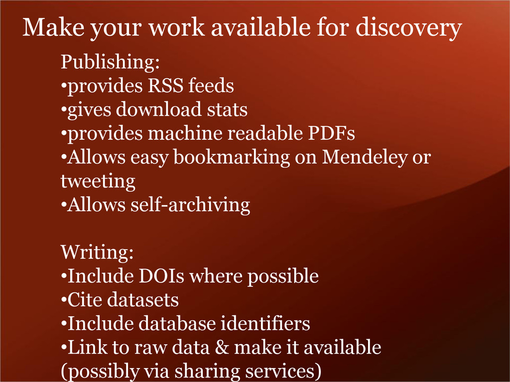 Make your work available for discovery Publishi...