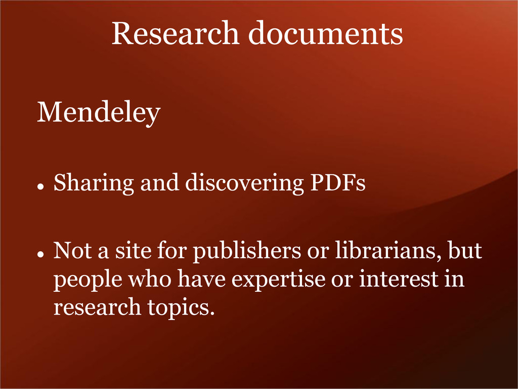 Research documents Mendeley  Sharing and disco...