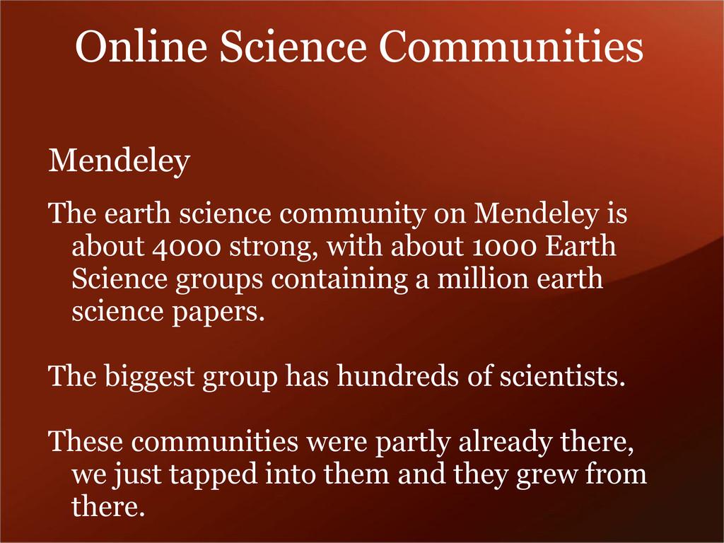 Mendeley The earth science community on Mendele...