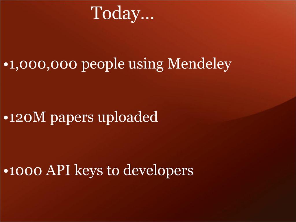 •1,000,000 people using Mendeley •120M papers u...