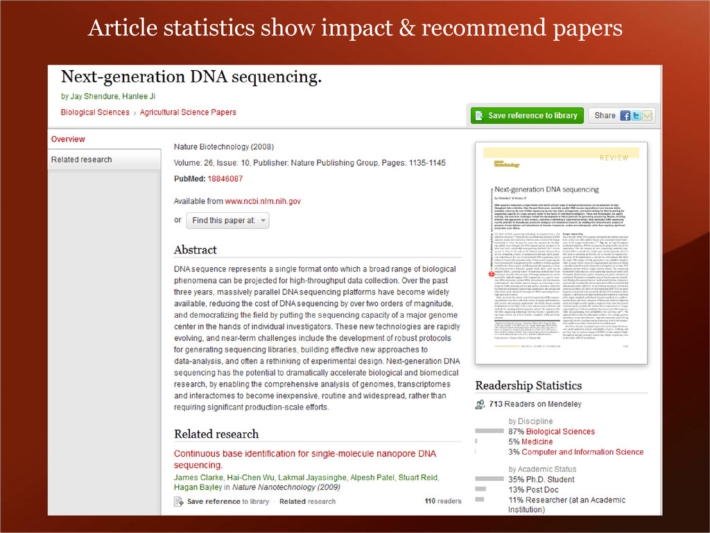 Article statistics show impact & recommend pape...