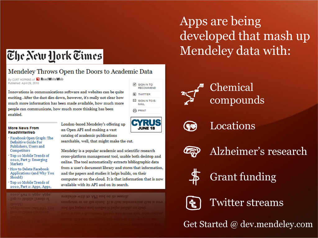 Apps are being developed that mash up Mendeley ...